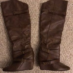 Shoes - Above the knee wedge boots from Charlotte Russe